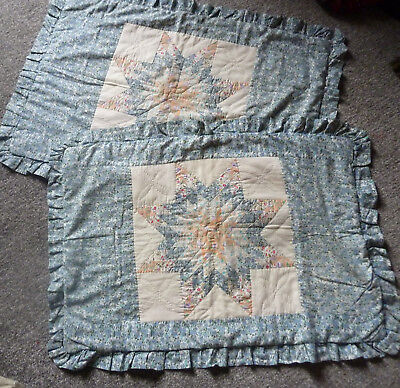 2 Antique Vintage Handmade Blue White & Pink Patchwork Extra Large Pillow caces