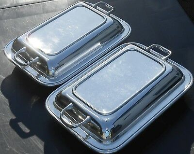 Pair Deco Period Catering Entree Dishes - C.w. Fletcher Sheffield Silver Plated