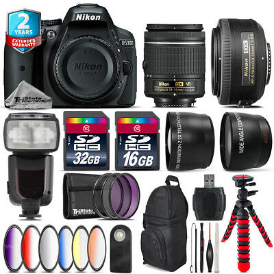 Nikon D5300 DSLR Camera + AF-P 18-55mm VR + 35mm f/1.8 + Pro Flash - 48GB Kit