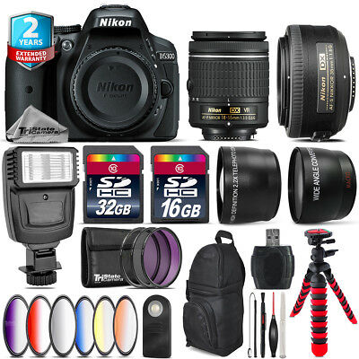Nikon D5300 DSLR Camera + AF-P 18-55mm VR + 35mm f/1.8 + Slave Flash - 48GB Kit