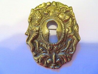 Antique Ornate Solid Brass Keyhole Cover Escutcheon Victorian Pin