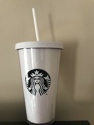 New Starbucks White Glitter 16oz Grande Tumbler Cold Cup 2017 Holiday Limited Ed