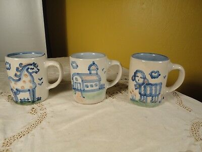M A Hadley (3) 4 Inch Mugs HORSE, SHEEP and BARN Stoneware Louisville, KY