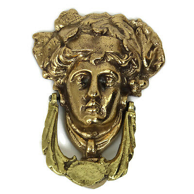 Antique Vintage Door Knocker Medusa Women's Head Solid Brass Architectural 6.5""