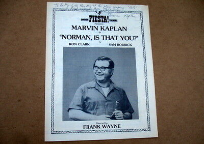 """Marvin Kaplan Signed Fiesta Dinner Theatre Menu~""""norman Is That You?"""" San Diego"""