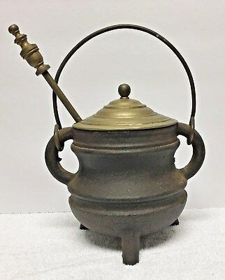 Antique Cast Iron Fire Starter Pot With Wand / Fireplace Tools
