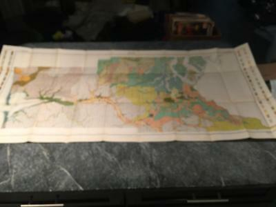 """Vintage 1910 PUGET SOUND WA - OLYMPIA - Soil Map with Railroads - 23"""" x 52"""""""