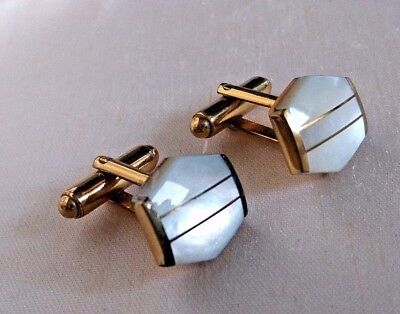 Vintage Jewellery Art Deco style Gold plated & mother of pearl cuff links