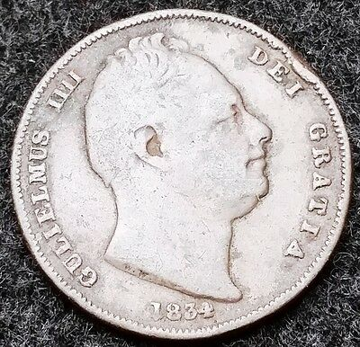 1834 Great Britain 1/2 Penny Copper Coin KM# 706 ***F Condition*** Good Date