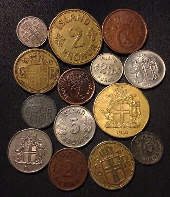 OLD ICELAND COIN LOT - 1925-Present - 14 Great Low Mintage Coins - Lot #N19