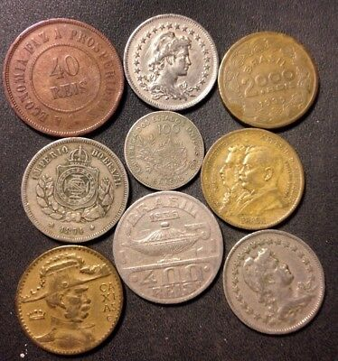 Vintage Brazil Coin Lot - 1871-1939 - 9 Great Coins - Lot #N19