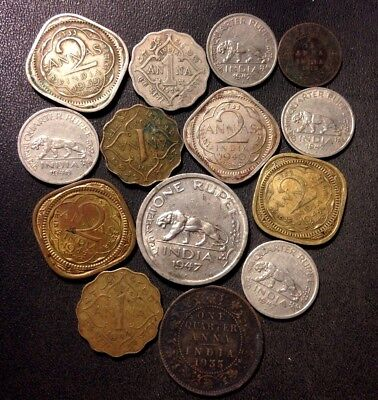 Old India Coin Lot - 1912-1947 - 14 VINTAGE Collectible Coins - Lot #N19