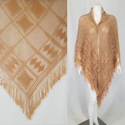 "Antique Shawl Piano Scarf Big Hand Crochet 58""x51"" +7"" Hand Knotted Fringe"