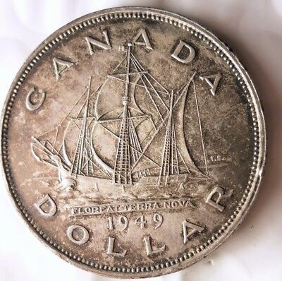 1949 CANADA DOLLAR - RARE DATE - Excellent Silver Crown Coin - Lot #N19