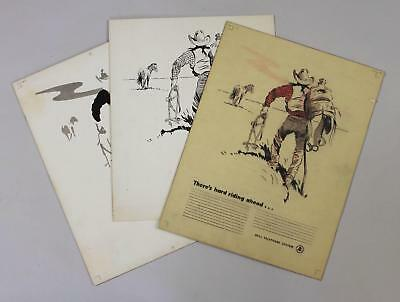 1949 ROBERT PEASE American Western Cowbow BELL TELEPHONE Advertising Drawing