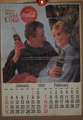 Vintage Coca Cola Calendar  1965 12X17 INCHES VG CONDITION SHRINK WRAPPED