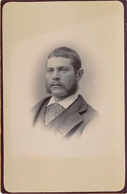1880-1889 Man with Mustache & Sideburns Manchester NH Sepia Piper Cabinet Photo