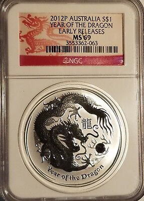 2012 P Australia S$1 Year Of The Dragon Early Releases NGC MS69 Nice!
