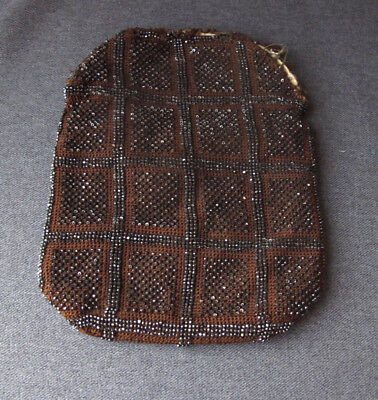 Antique art deco flapper dark silvered beaded brown silky threads knotted bag