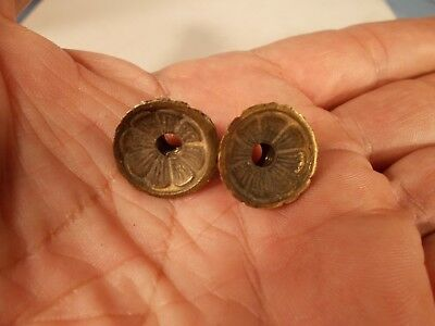 Victorian Pair of Cast Brass Fancy Embossed Nuts to Hold Prism Band Shade Ring