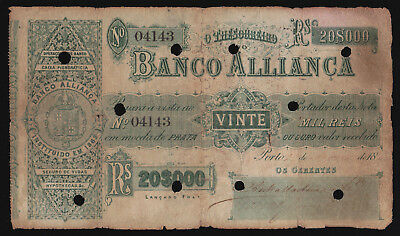 Portugal Banco Allianca 20,000 gold Milreis Pick S.142 Issued Note cancelled RRR