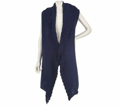 Motto Textured Lovely Open Front Long Vest Shawl Collar Solid Navy S NEW A218984