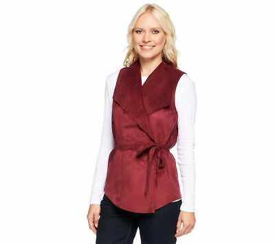 Denim & co Faux Suede Semi-fitted Vest Stud Removable Belt Wine M NEW A235206