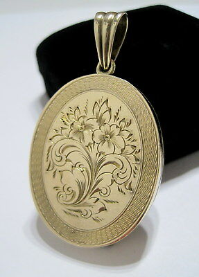 STUNNING Antique VICTORIAN Hand-Engraved *LARGE* Polished Brass LOCKET PENDANT