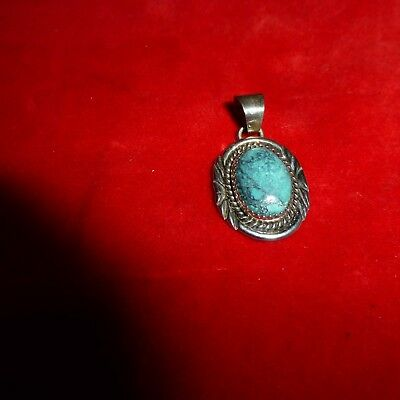 Rare Ca 1900 Native American Navajo Indian Sterling Silver & Turquoise Pendent