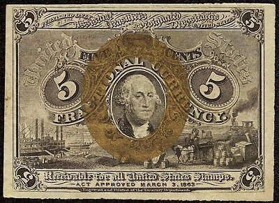 5 Cent Fractional Currency 2Nd Issue 1863-1867 Paper Money Civil War Era Note
