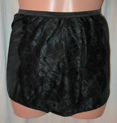 Vtg 50's VANITY FAIR LACE FRONT Full Brief Wide Gusset Black TRICOT NYLON Sz 4