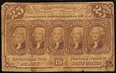 25 CENT FRACTIONAL POSTAGE NOTE 1862 1863 CURRENCY CIVIL WAR PAPER MONEY Fr 1281