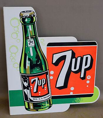 7UP Soda Pop With BOTTLE FLANGE SIGN    modern retro  7 up    swimsuit girl