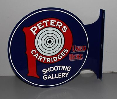 PETERS AMMUNITION Shooting Gallery Flange Sign GUN RIFLE Hunting  Modern Retro