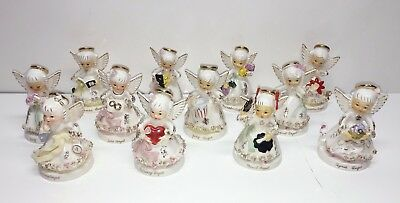 Napco Japan Ceramic Birthday Angels Set of 12 January to December Figurines