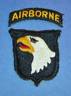 ORIGINAL CUT-EDGE WW2 101st AIRBORNE DIVISION TYPE 1 PATCH & TAB OFF UNIFORM