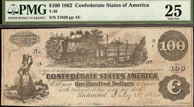 1862 $100 Dollar Confederate States Currency Civil War Note Money T-39 Pmg 25