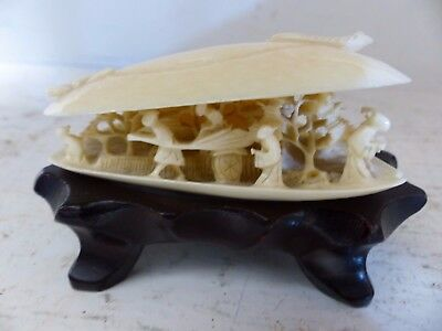 Very Fine Old Chinese Clam Shell On Fitted Wooden Stand - Very Rare - L@@k