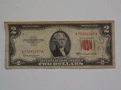 Currency Note 1953 2 Dollar Bill Red Seal Note Paper Money United States USA VTG