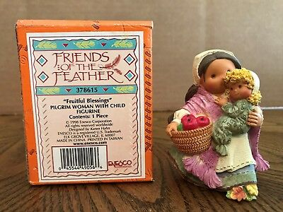"""Enesco Friends Of The Feather """"Fruitful Blessings"""" Pilgrim Woman w/Child  378615"""
