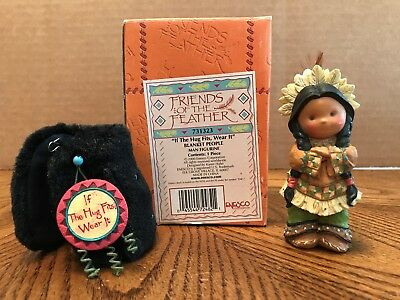 """Enesco Friends Of The Feather """"If The Hug Fits, Wear It"""" Blanket People  731323"""