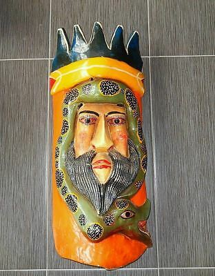 Guerrero Mexico Human Bearded King Mask with Snake