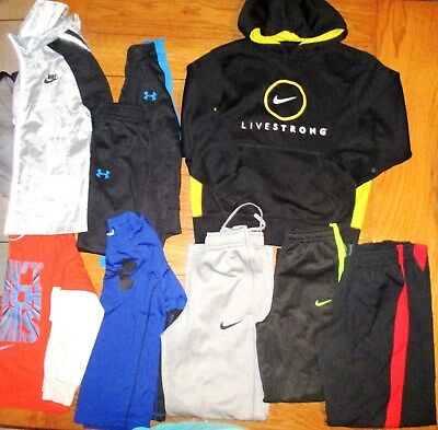 Boys lot of 10 under armour nike pants/shirts/hoodie size 5-6-7 Good condition
