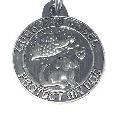 Pewter Guardian Angel Protect My Dog Charm with EZ Clip