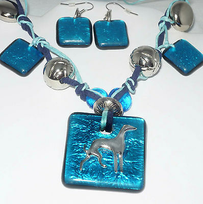 Cerulean Artglass Necklace and Earrings w Greyhound Dog or Whippet Silhouette