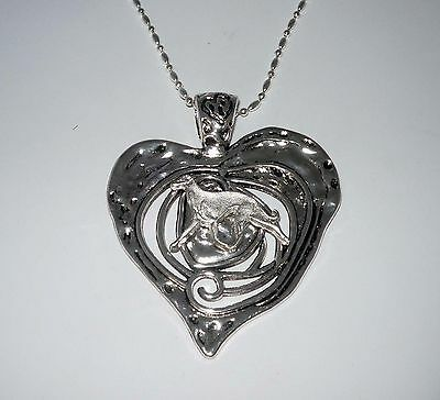 Rustic Silver Heart Pendant w Trotting SP Greyhound /Whippet Dog, Silvr Necklace