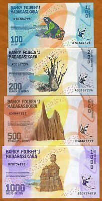 SET Madagascar, 100;200;500;1000 Ariary, 2017 P-New UNC > Completely Redesigned