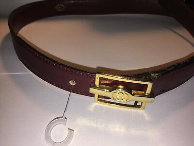"""Authentic GUCCI VINTAGE Leather BELT w/ GG BUCKLE Size 65/26"""""""