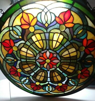 "Tiffany leaded Stained Glass Window Panel, Large Round 16"" Hanging Art Vintage"