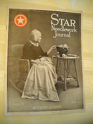 STAR NEEDLEWORK JOURNAL  Antique 1920, 20 pg Filet Crochet Magazine LITHOGRAPH